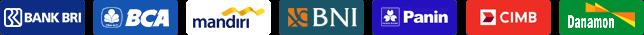 Bank BCA, Mandiri, BNI, BRI, CIMB Niaga, Panin, Danamon